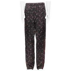 runway BOTTEGA VENETA 100% silk black white red speckle print pajama pants IT48