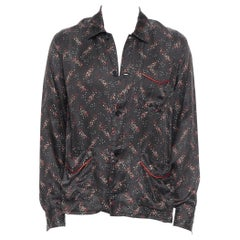 runway BOTTEGA VENETA 100% silk black white red speckle print pajama shirt EU48