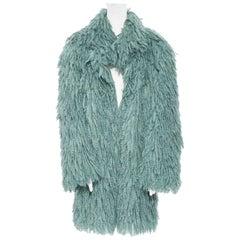 runway BOTTEGA VENETA AW18 green boiled wool loops moppy oversized coat IT38 XS