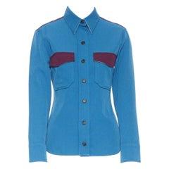 runway CALVIN KLEIN RAF SIMONS AW17 blue purple wool diner uniform shirt IT38 XS