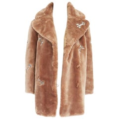 runway CARVEN AW14 brown faux fur allover crystal arrow embroidery coat FR36 S