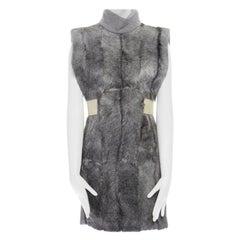 runway CELINE grey goat fur 100% cashmere leather belt tab turtleneck vest top