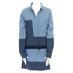 runway CELINE PHILO blue mixed denim patchwork long sleeve mini dress FR38 M