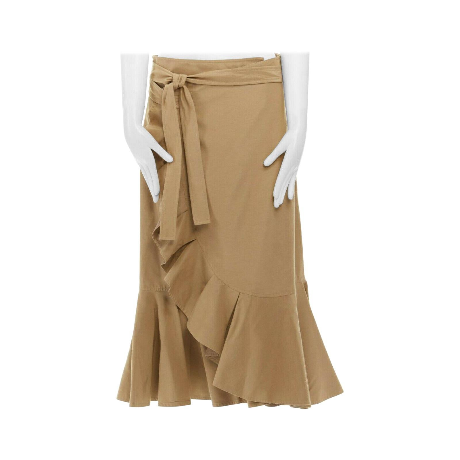 runway CELINE PHILO khaki beige ruffle hem wraparound self tie knee skirt FR40