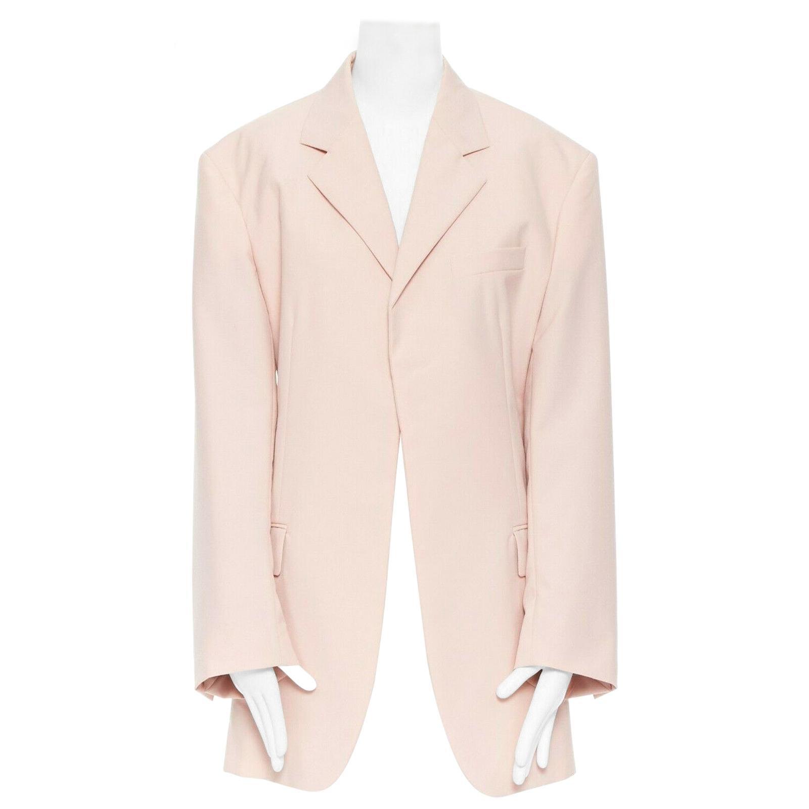 runway CELINE SS18 minimal soft pink oversized boyfriend blazer jacket FR36 S