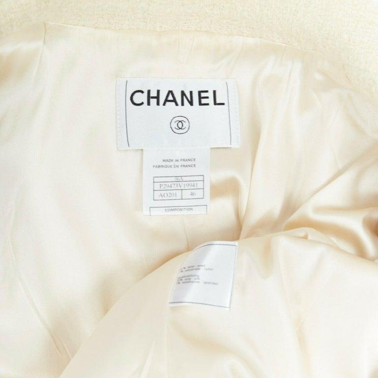 runway CHANEL 06A cream tweed black trim lapel 4 pocket school boy jacket FR46 5