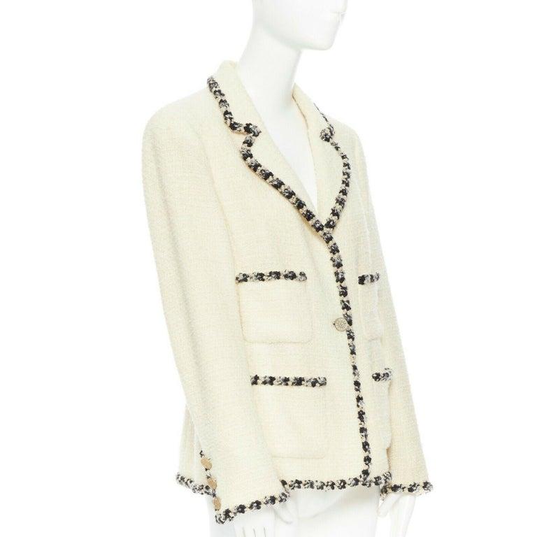 White runway CHANEL 06A cream tweed black trim lapel 4 pocket school boy jacket FR46