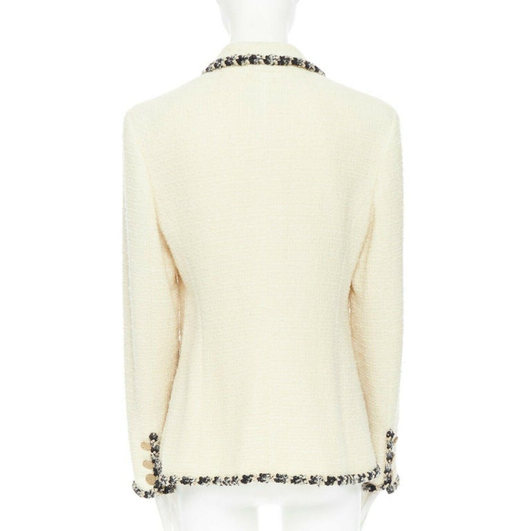 Women's runway CHANEL 06A cream tweed black trim lapel 4 pocket school boy jacket FR46