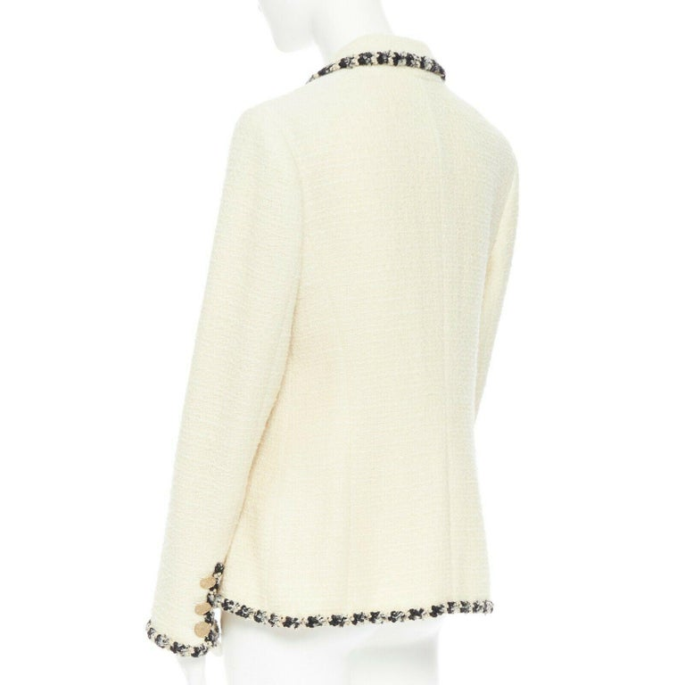 runway CHANEL 06A cream tweed black trim lapel 4 pocket school boy jacket FR46 1