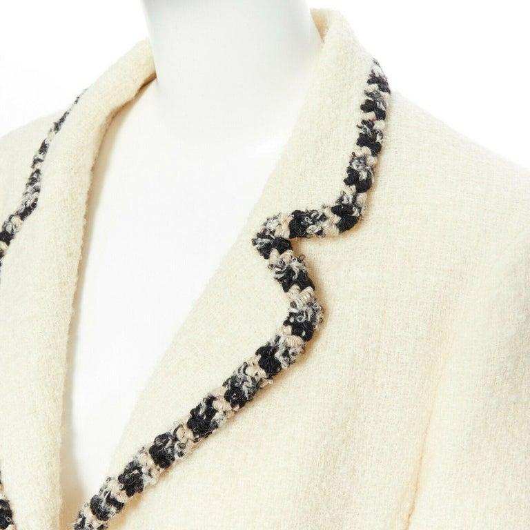 runway CHANEL 06A cream tweed black trim lapel 4 pocket school boy jacket FR46 2