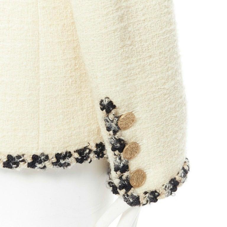 runway CHANEL 06A cream tweed black trim lapel 4 pocket school boy jacket FR46 4