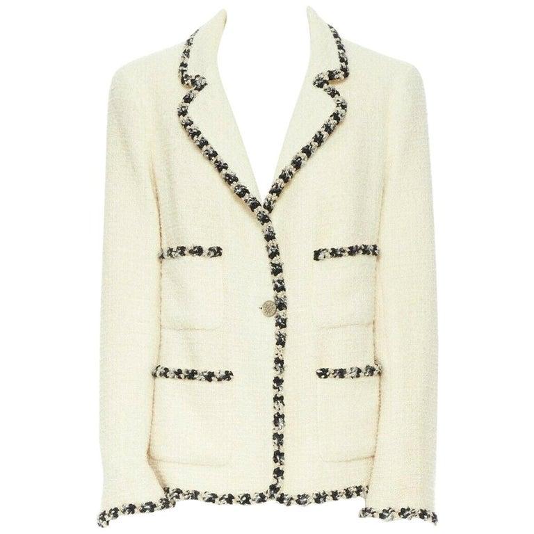 runway CHANEL 06A cream tweed black trim lapel 4 pocket school boy jacket FR46