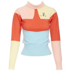 runway CHANEL 08C 100% cashmere orange colorblocked gold airplane sweater FR36