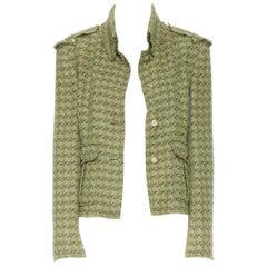runway CHANEL 08C green houndstooth tweed 2 pocket military jacket FR42