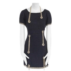 runway CHANEL 08P black tweed gold chain embellished dress LBD FR42 US10 UK14 L