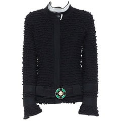 runway CHANEL 09A black boucle tweed wrap collar jade leather belt jacket FR42