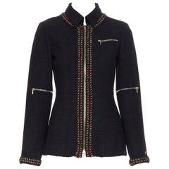 runway CHANEL 10A Paris-Shanghai black tweed red gold crochet trim jacket FR36
