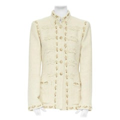 runway CHANEL 10P beige wheat silk tweed gold embroidery military jacket FR44