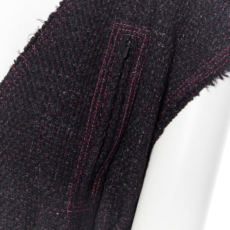 runway CHANEL 12A black pink tweed cap sleeve jewel button vest jacket FR38 For Sale 5