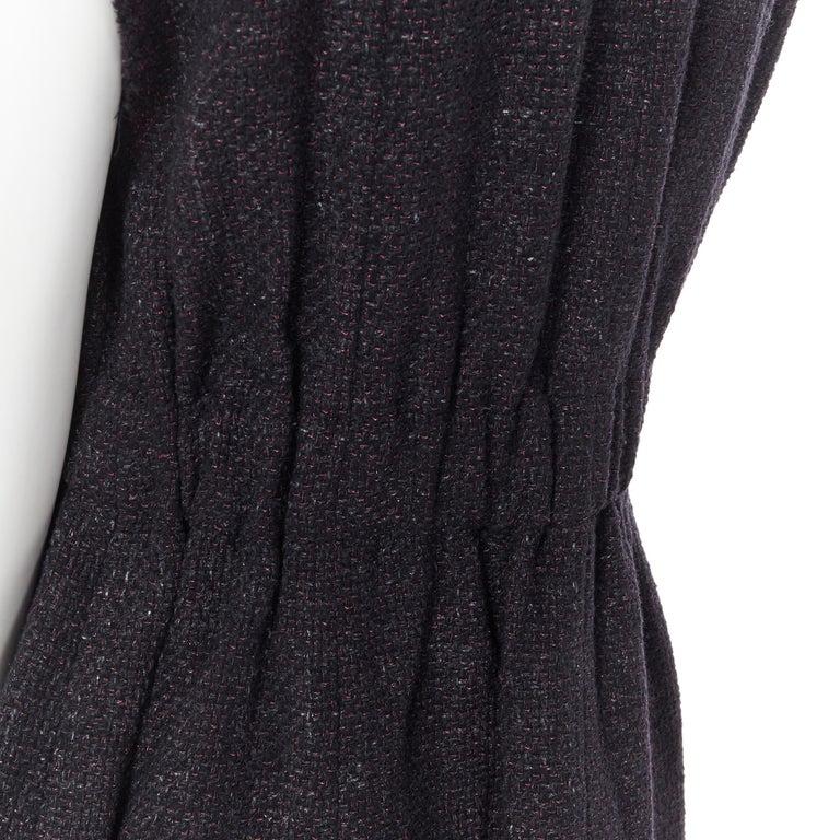 runway CHANEL 12A black pink tweed cap sleeve jewel button vest jacket FR38 For Sale 6