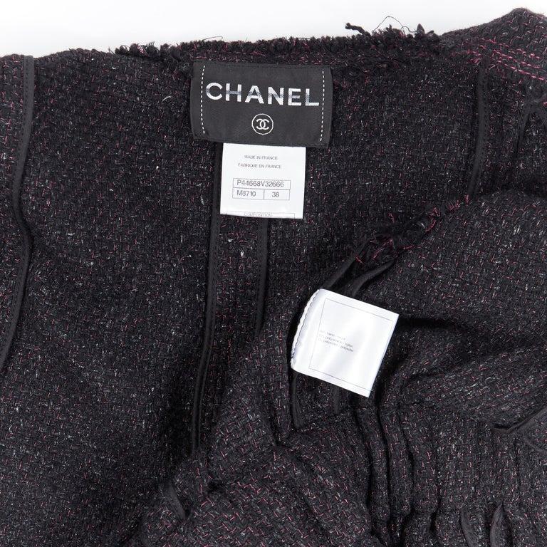 runway CHANEL 12A black pink tweed cap sleeve jewel button vest jacket FR38 For Sale 7