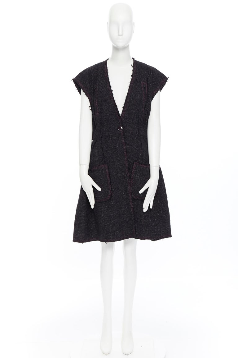 Black runway CHANEL 12A black pink tweed cap sleeve jewel button vest jacket FR38 For Sale