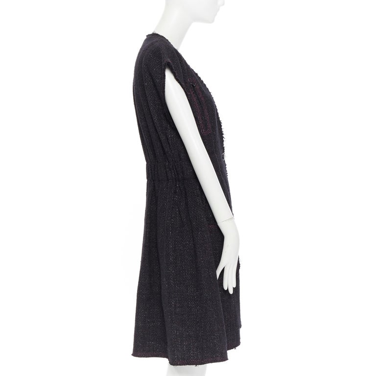 Women's runway CHANEL 12A black pink tweed cap sleeve jewel button vest jacket FR38 For Sale