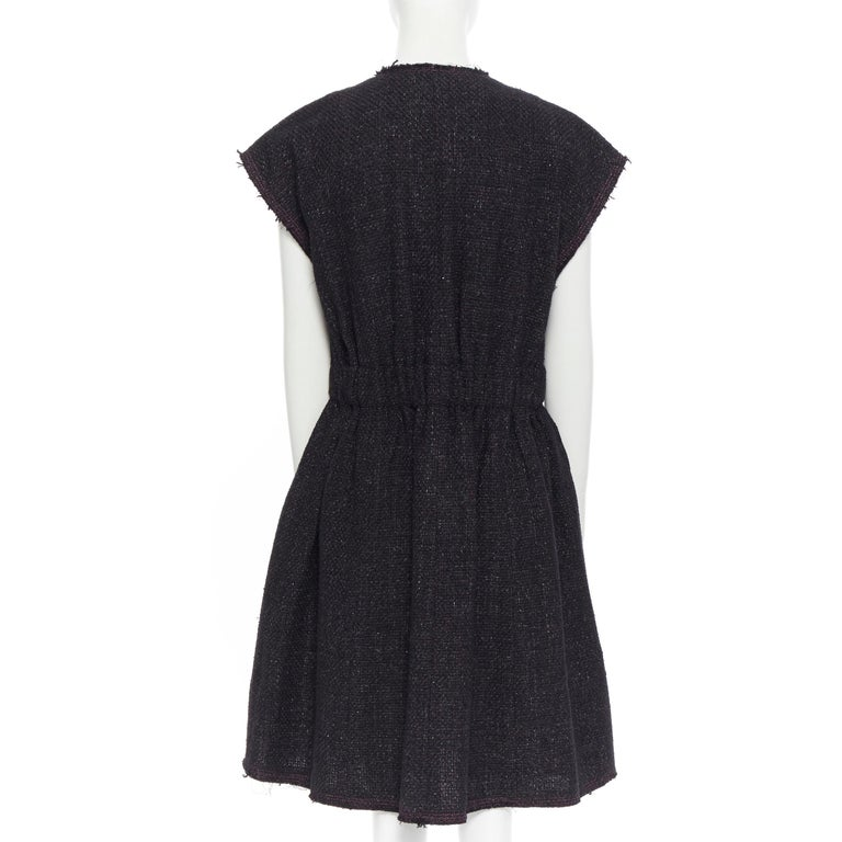 runway CHANEL 12A black pink tweed cap sleeve jewel button vest jacket FR38 For Sale 2