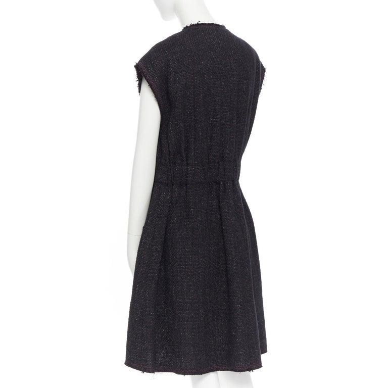 runway CHANEL 12A black pink tweed cap sleeve jewel button vest jacket FR38 For Sale 3
