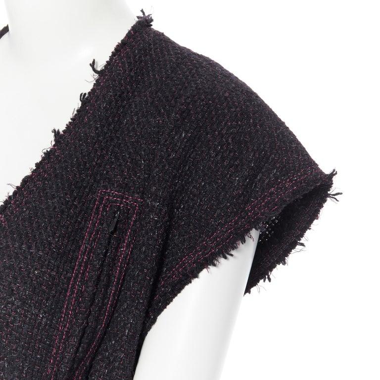 runway CHANEL 12A black pink tweed cap sleeve jewel button vest jacket FR38 For Sale 4
