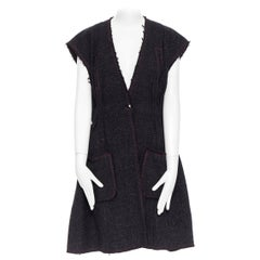 runway CHANEL 12A black pink tweed cap sleeve jewel button vest jacket FR38