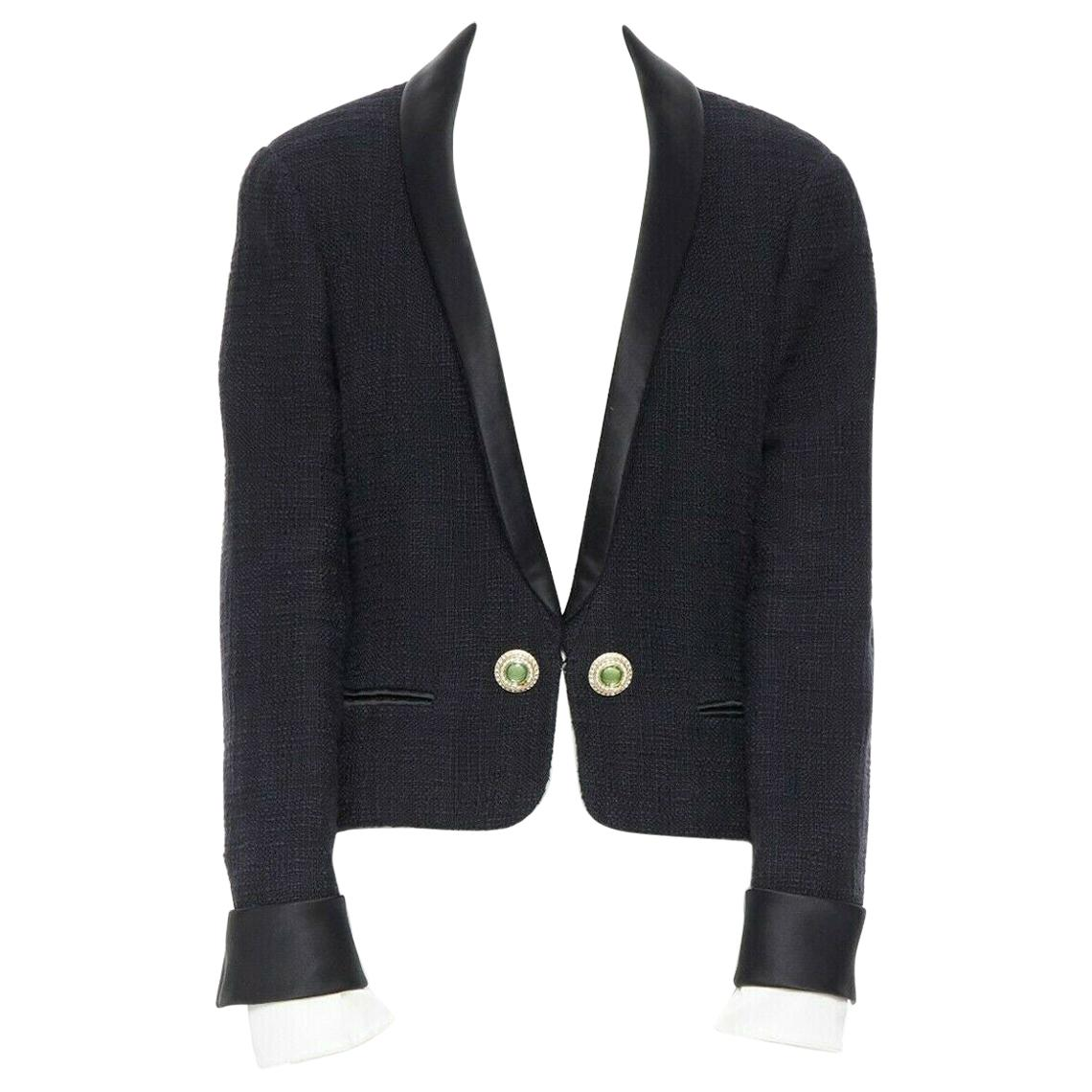 runway CHANEL 12A Paris-Bombay tweed satin tuxedo with green jewel button FR44