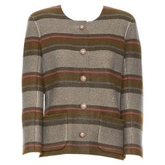 runway CHANEL 14A brown stripe coated cashmere cowboy star button jacket FR44