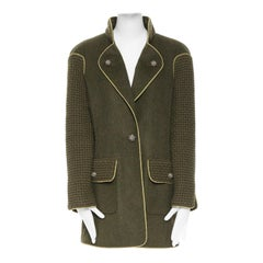 runway CHANEL 15A green mohair boucle knit bejewel button gold pipe coat FR44
