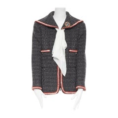 runway CHANEL 18A Paris-Hamburg grey fantasy tweed sailor collar jacket FR46