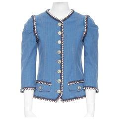 runway CHANEL 2013 tweed trimmings 3/4 sleeves blue denim jacket FR34 XS