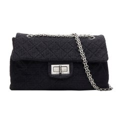 runway CHANEL 2.55 Reissue XXL black tweed quilted maxi silver chain flap bag