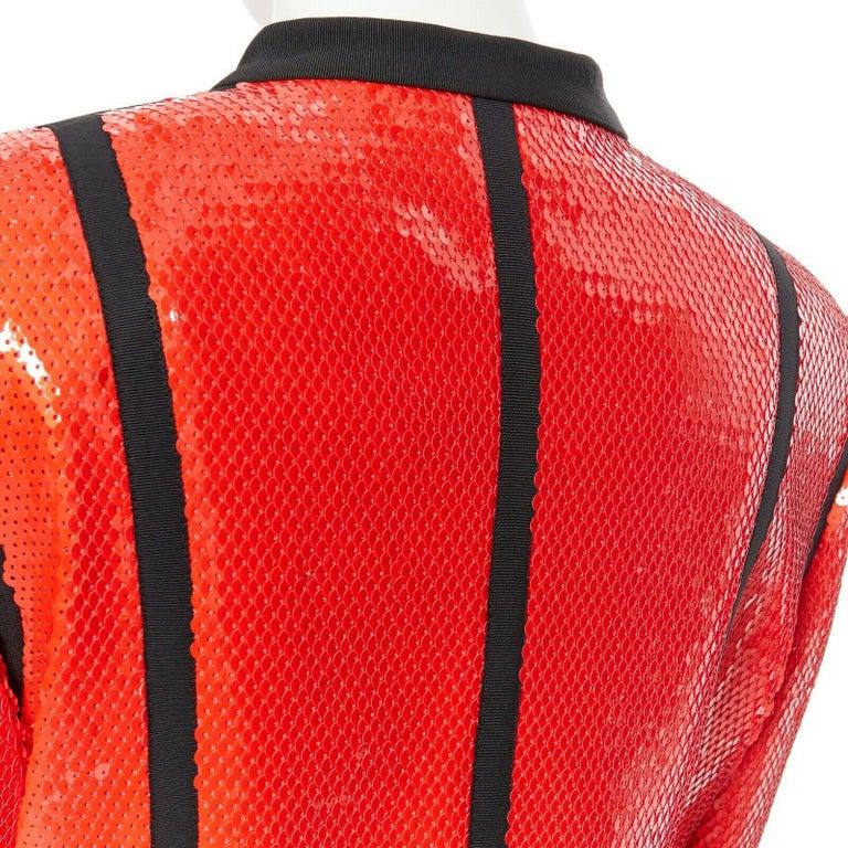 runway CHANEL 91P vintage red sequin black trim scuba suit zip CC jacket FR44 For Sale 5