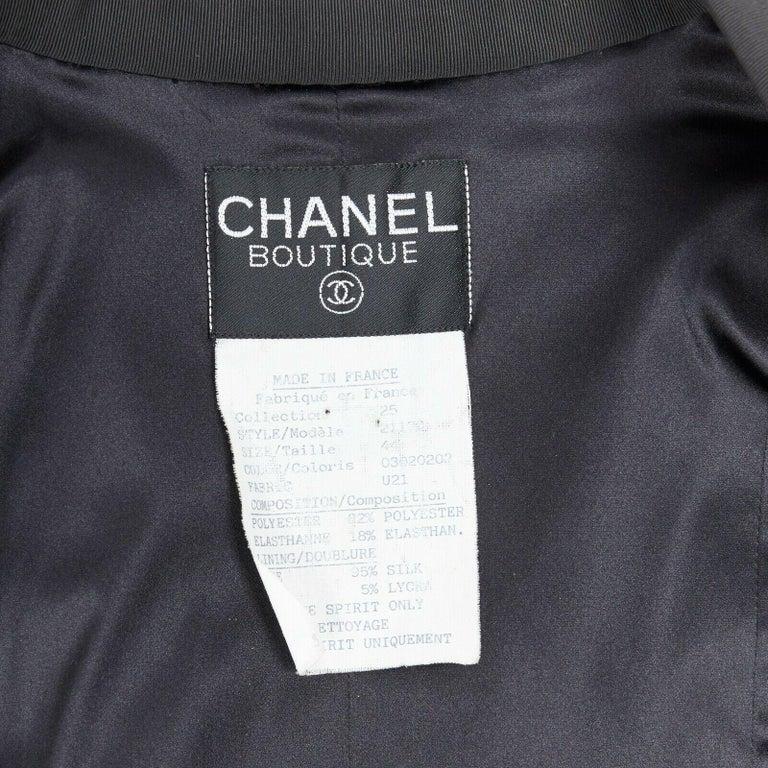 runway CHANEL 91P vintage red sequin black trim scuba suit zip CC jacket FR44 For Sale 6