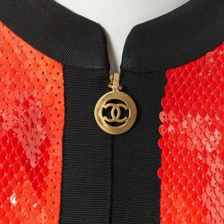 runway CHANEL 91P vintage red sequin black trim scuba suit zip CC jacket FR44 Brand: CHANEL Designer: Karl Lagerfeld Collection: Spring / Summer 1991, Collection 25, 21170  Model Name / Style: Sequins jacket Material: Wool and sequins Color: Red;