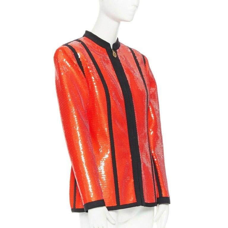 Women's runway CHANEL 91P vintage red sequin black trim scuba suit zip CC jacket FR44 For Sale