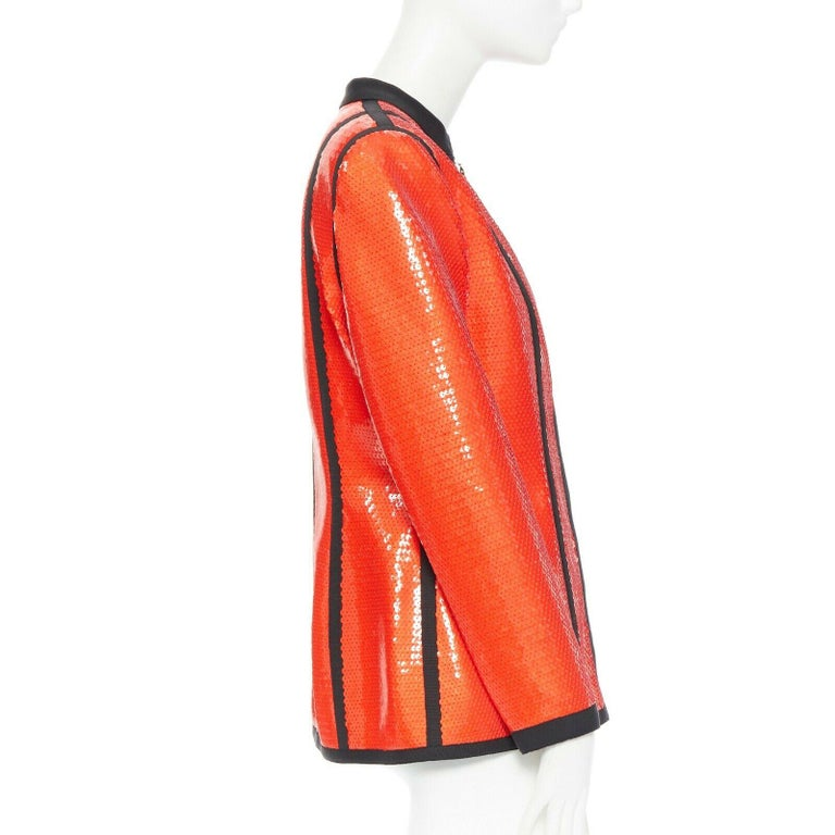 runway CHANEL 91P vintage red sequin black trim scuba suit zip CC jacket FR44 For Sale 1
