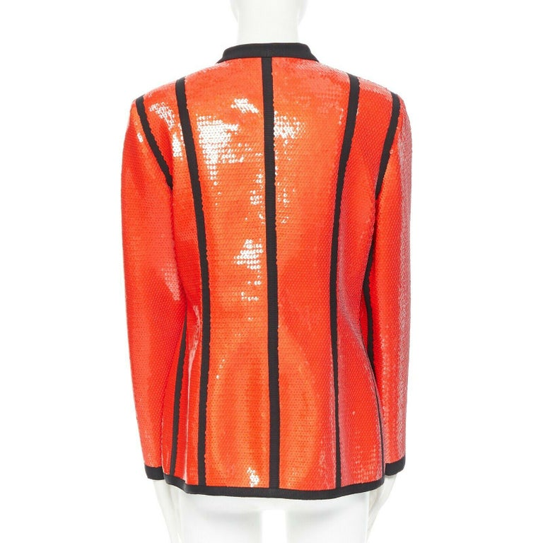 runway CHANEL 91P vintage red sequin black trim scuba suit zip CC jacket FR44 For Sale 2