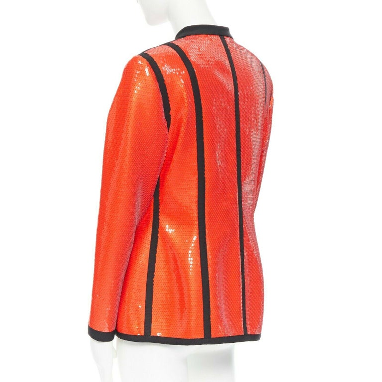 runway CHANEL 91P vintage red sequin black trim scuba suit zip CC jacket FR44 For Sale 3