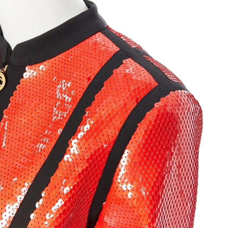 runway CHANEL 91P vintage red sequin black trim scuba suit zip CC jacket FR44 For Sale 4