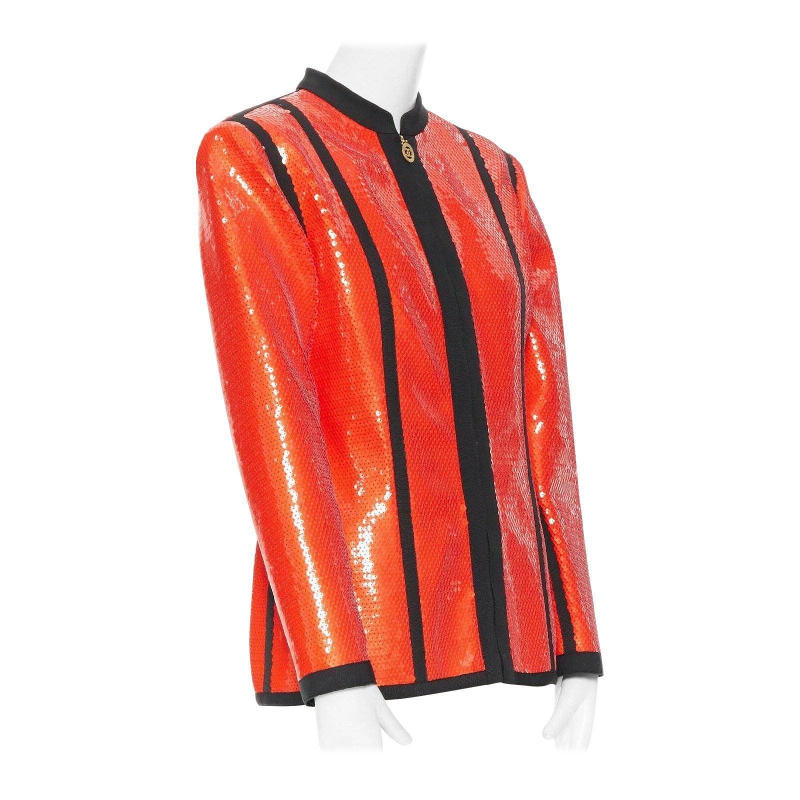 runway CHANEL 91P vintage red sequin black trim scuba suit zip CC jacket FR44