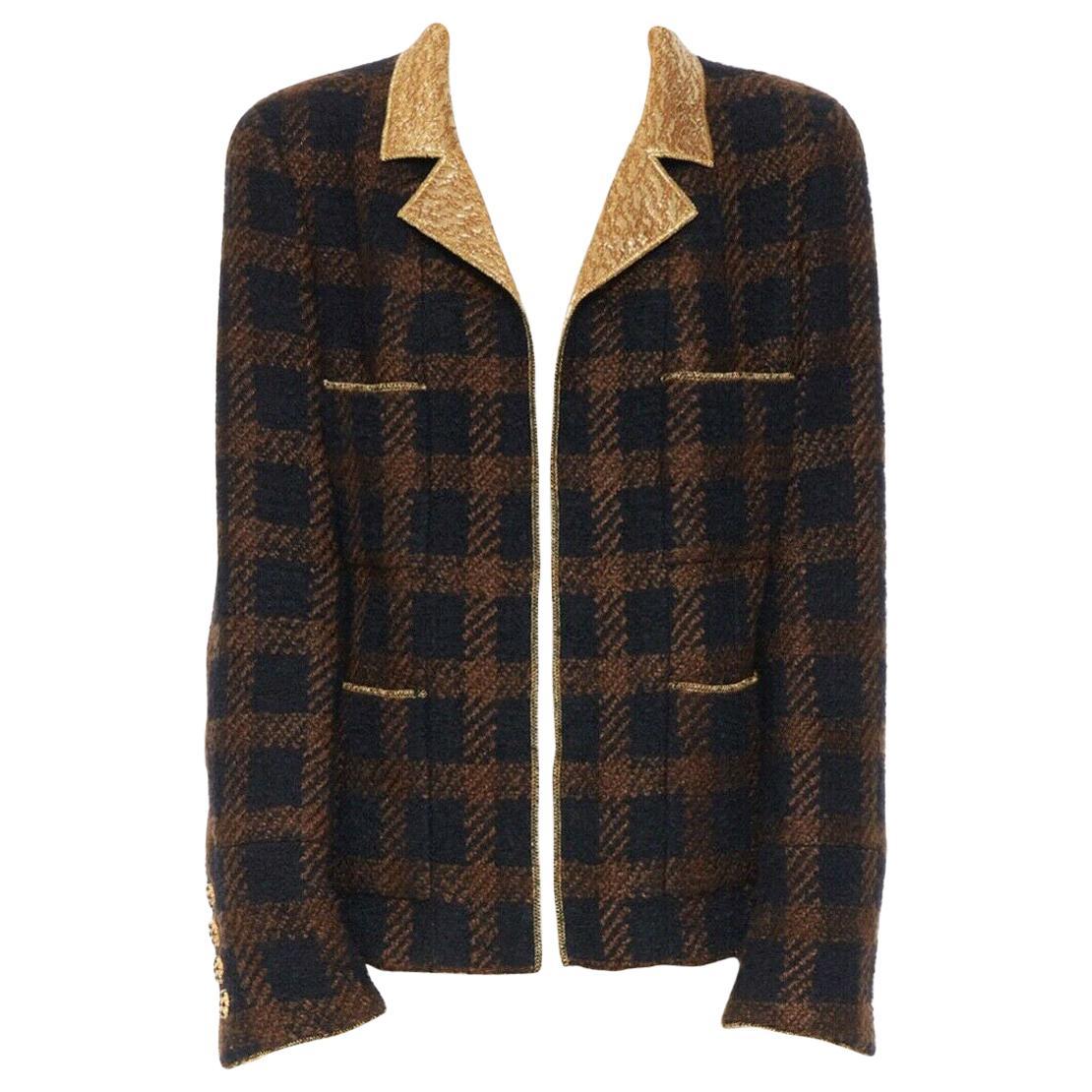 runway CHANEL 96A brown tweed brocade collar gripoix lame gold lapel jacket FR46