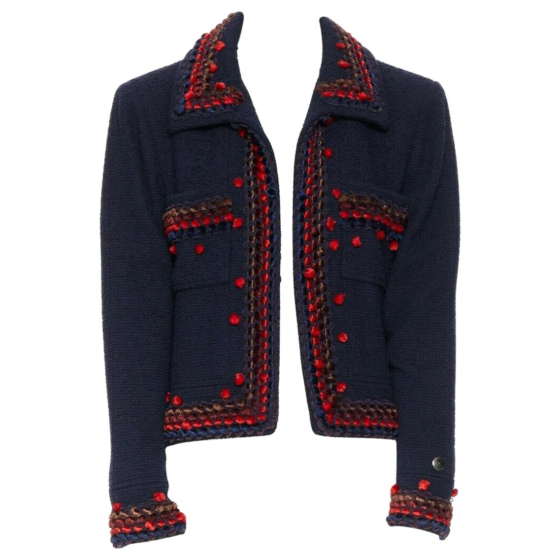 runway CHANEL 97A blue wool tweed multicolor pom-pom adorned crop jacket FR44