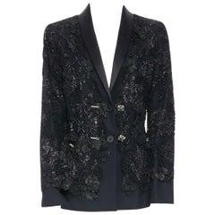 runway CHANEL AW11 trompe l'oeil lace little tuxedo blazer black jacket FR44