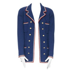 runway CHANEL AW89 red grey blue nautical marine double breasted jacket FR38